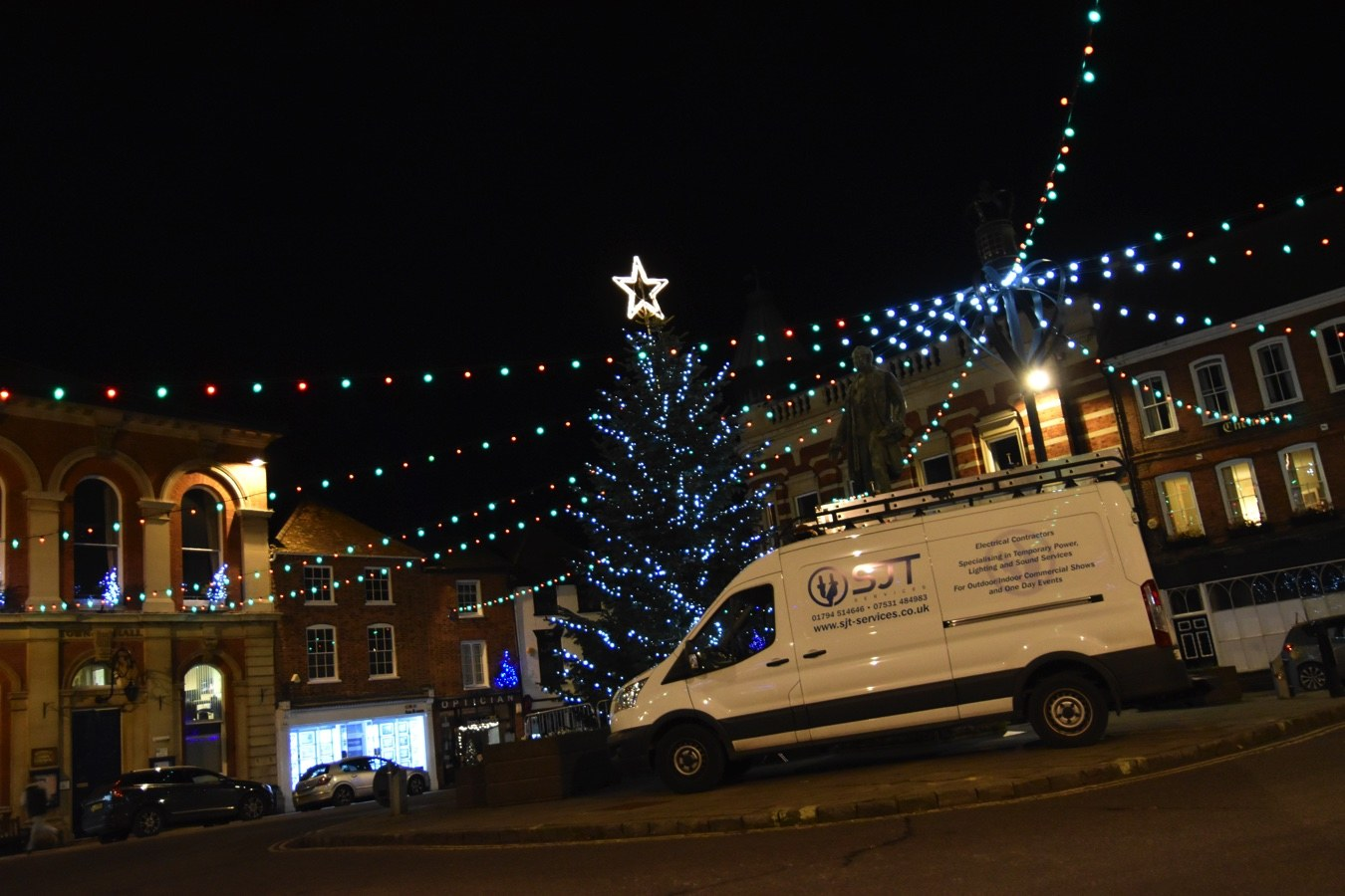 Christmas lights commercial southampton hampshire sjt services for further information about maintaining and installing your christmas lighting scheme or to request a quote simply call our friendly team on 01794 514646 aloadofball Choice Image